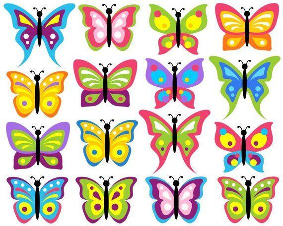 Colorful Butterflies Clip Art Set, Bugs Clipart, Digital Clip Art.
