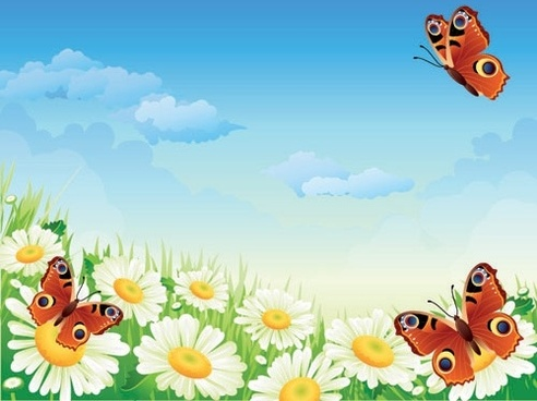 Butterflies and flowers clipart free vector download (15,082.