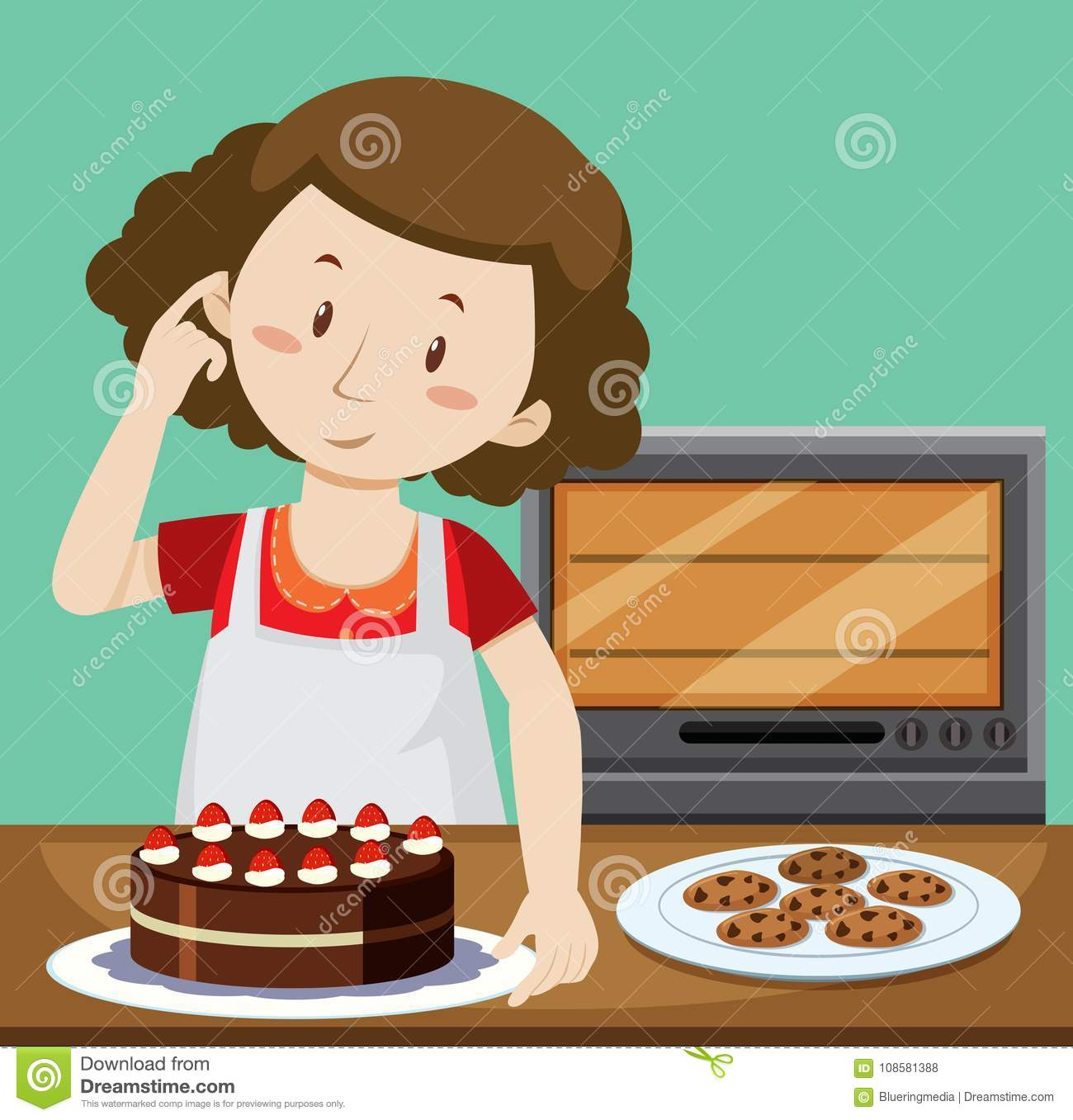 Woman Baking Cake And Cookies Stock Vector.