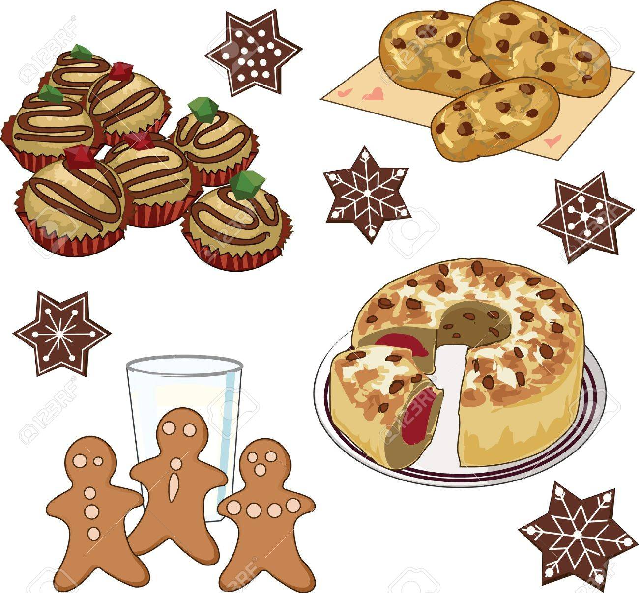 Clip art set of xmas cookies and cake.