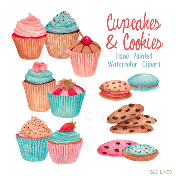 cupcake watercolor clipart, cookies graphic set, blue cupcakes.