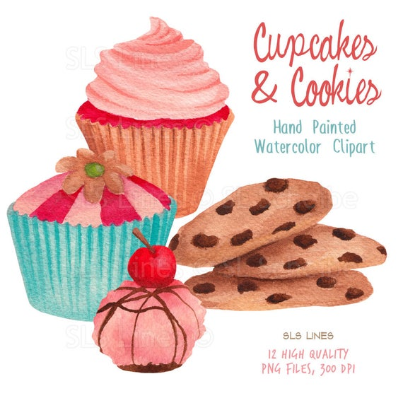 cupcake watercolor clipart, cookies graphic set, blue cupcakes, cakes and  treats clip art handpainted graphics by SLS Lines.