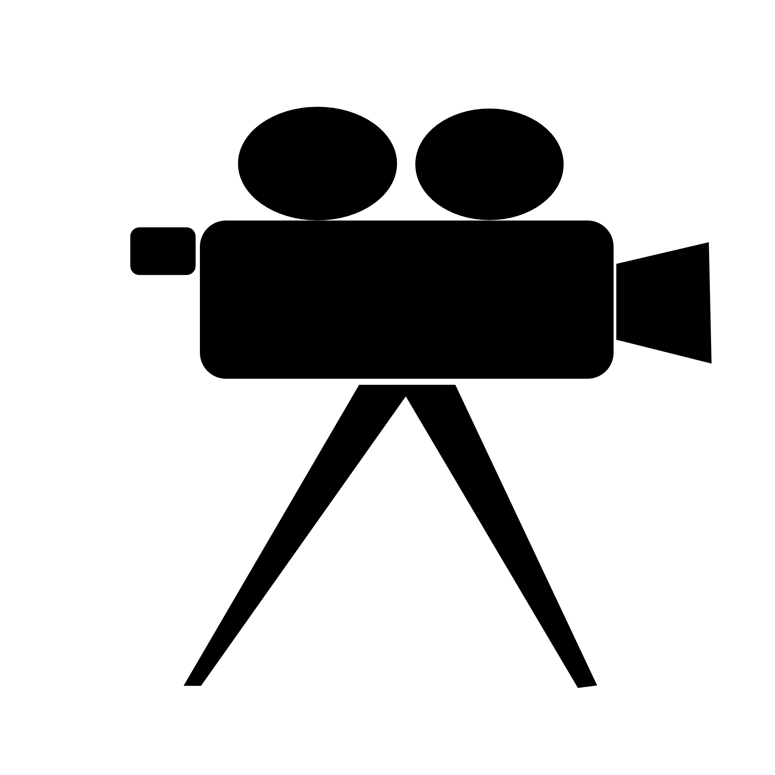 Movie camera clipart black and white.