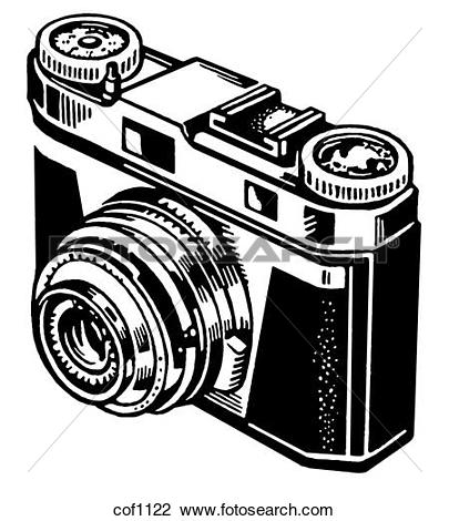 Clip Art of A black and white version of a vintage camera cof1122.