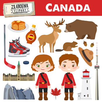 Canada clip art Canadian clipart Canada graphics Maple syrup Moose clipart  Deer.
