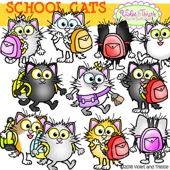 Cat Clipart {Back to School Cats}.