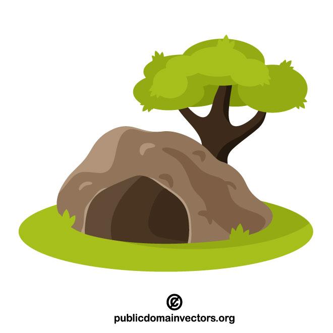 Cave under the tree clip art.