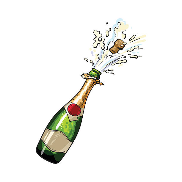 Popping Champagne Clipart.