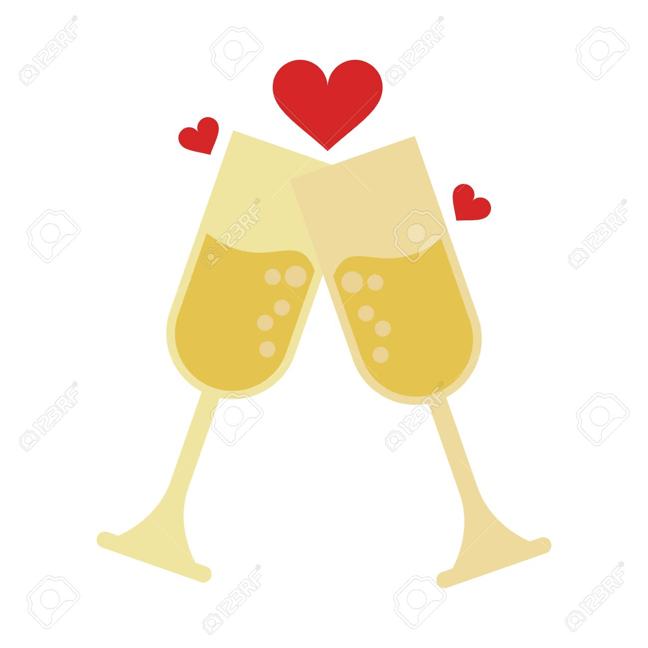 A champagne glasses toasting with hearts wedding related icon...