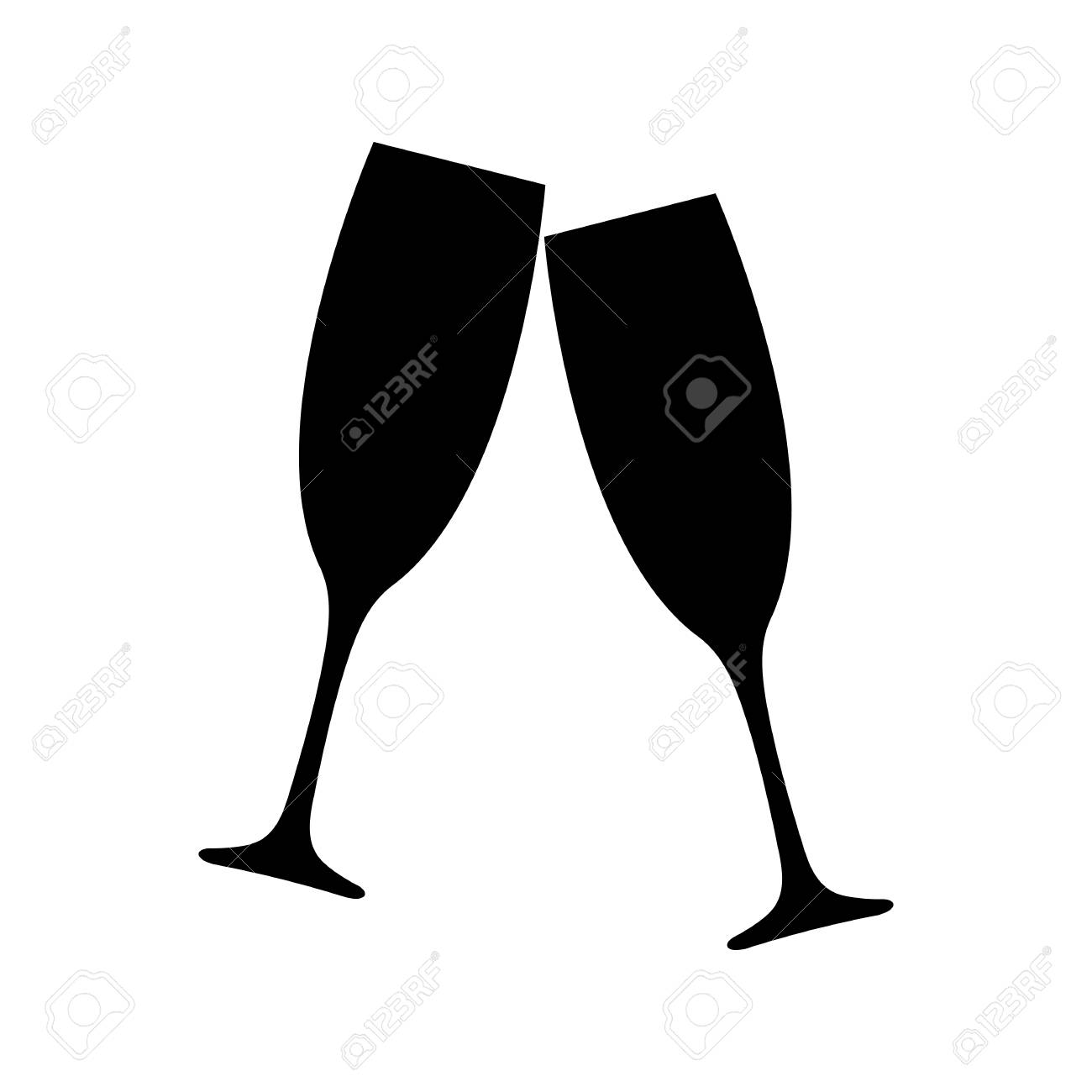 Clinking champagne glasses icon. Toasting with two glasses of...