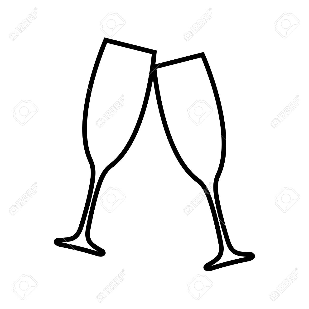 Clinking champagne glasses line icon. Toasting with two glasses...