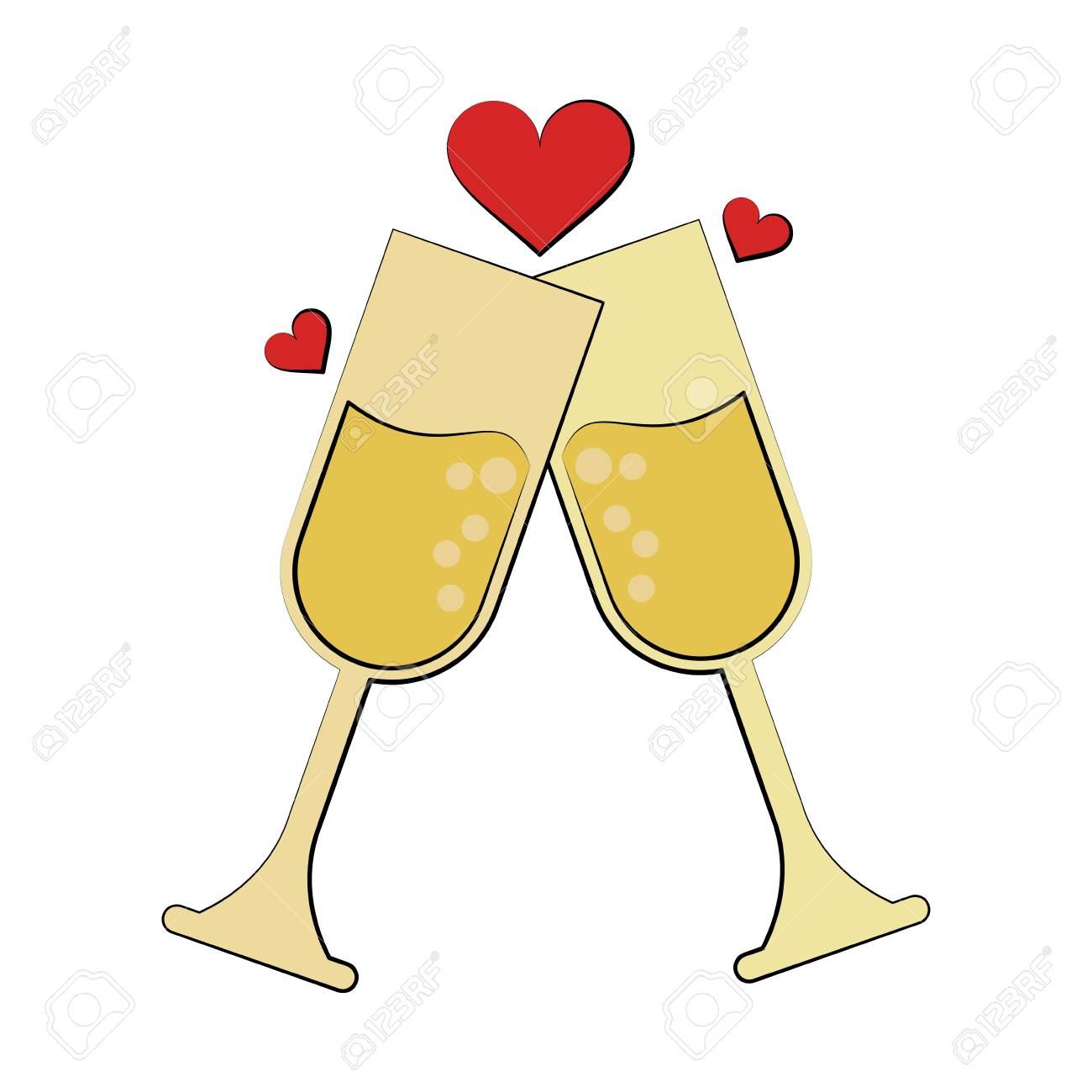 champagne glasses toasting with hearts wedding related icon image...