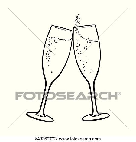 Pair of champagne glasses, holiday toast Clipart.