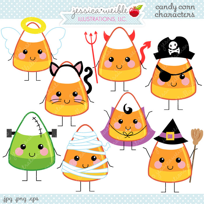 Candy Corn Characters Cute Digital Clipart Commercial Use OK.