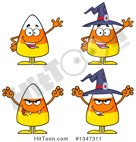Clipart of Cartoon Halloween Candy Corn Characters.