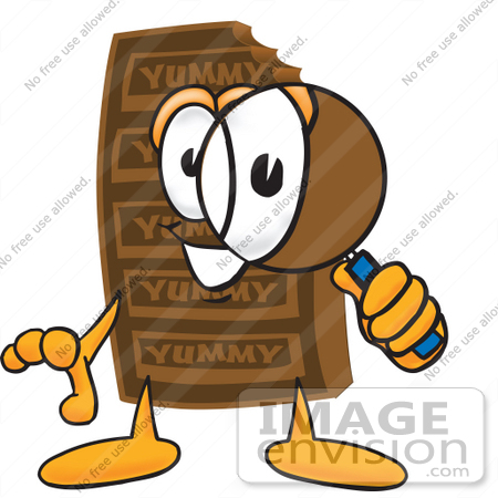 Clip Art Graphic of a Chocolate Candy Bar Mascot Character Looking.
