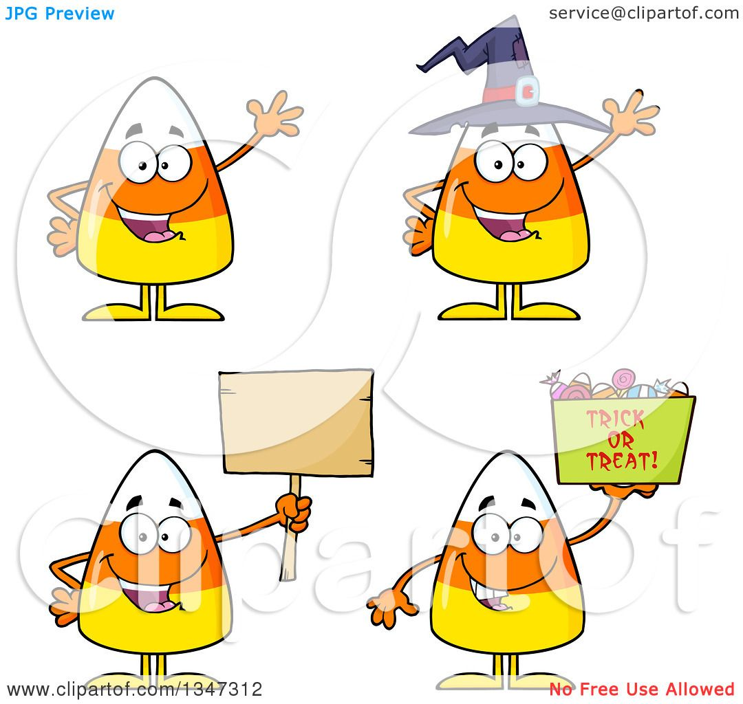 Clipart of Cartoon Halloween Candy Corn Characters 2.