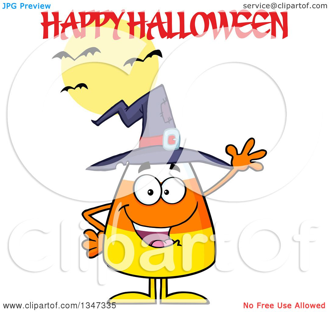 Clipart of a Cartoon Candy Corn Character Wearing a Witch Hat and.