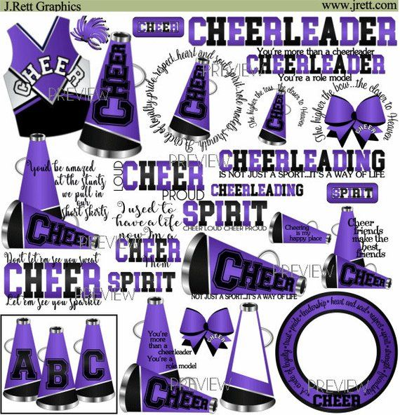 Cheer clipart, MORE COLORS, 50+ graphics, purple black cheer.