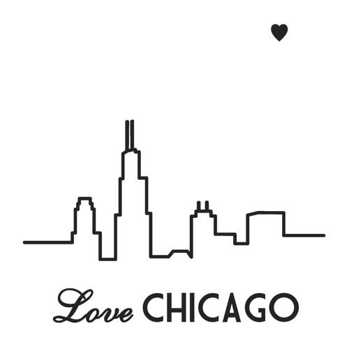 Chicago Skyline Silhouette Clip Art.