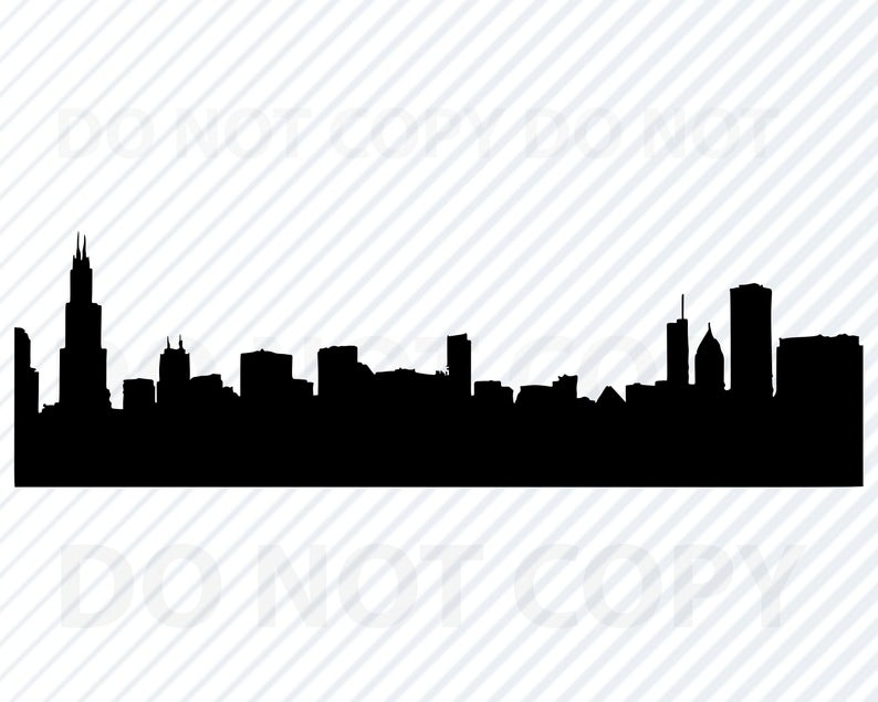 Chicago Skyline SVG Files For Cricut City skyline Clipart City silhouette  Files Eps, Chicago Png ,Dxf Clip Art Chicago Illinois Skyline svg.