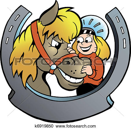 Clipart of Child Rider and Horse k6919850.