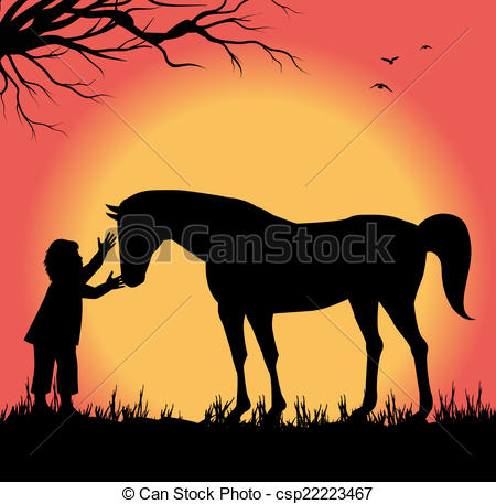 clipart of child and horse #7