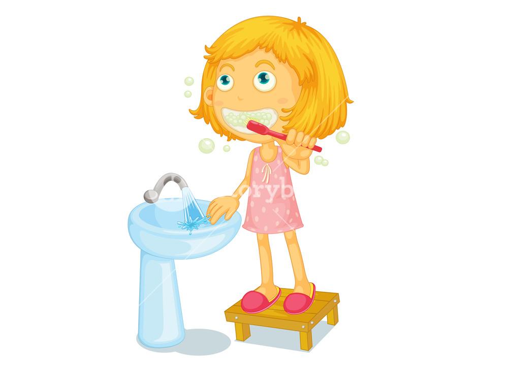 Illustration of child brushing teeth Royalty.