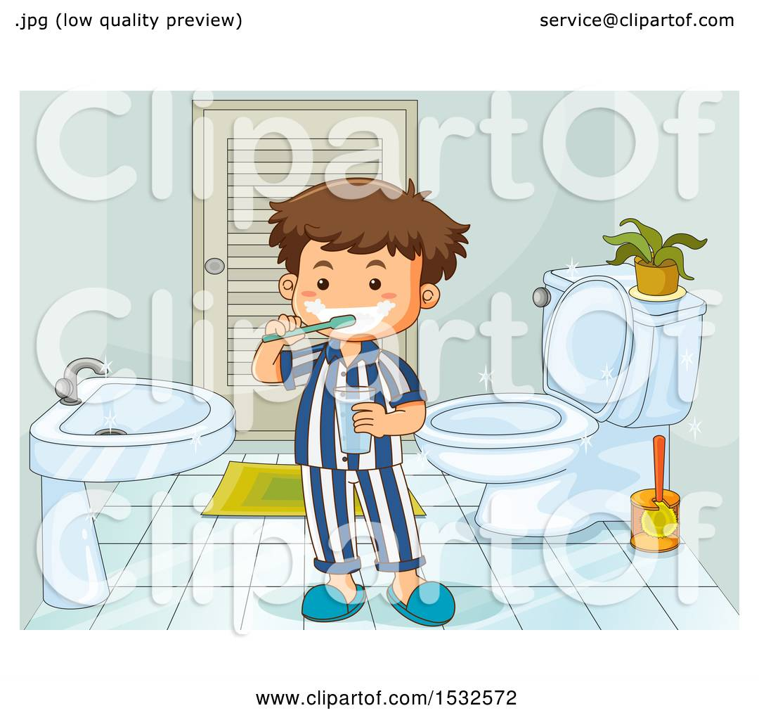 Clipart of a Boy Brushing His Teeth and Getting Ready for Bed Time.