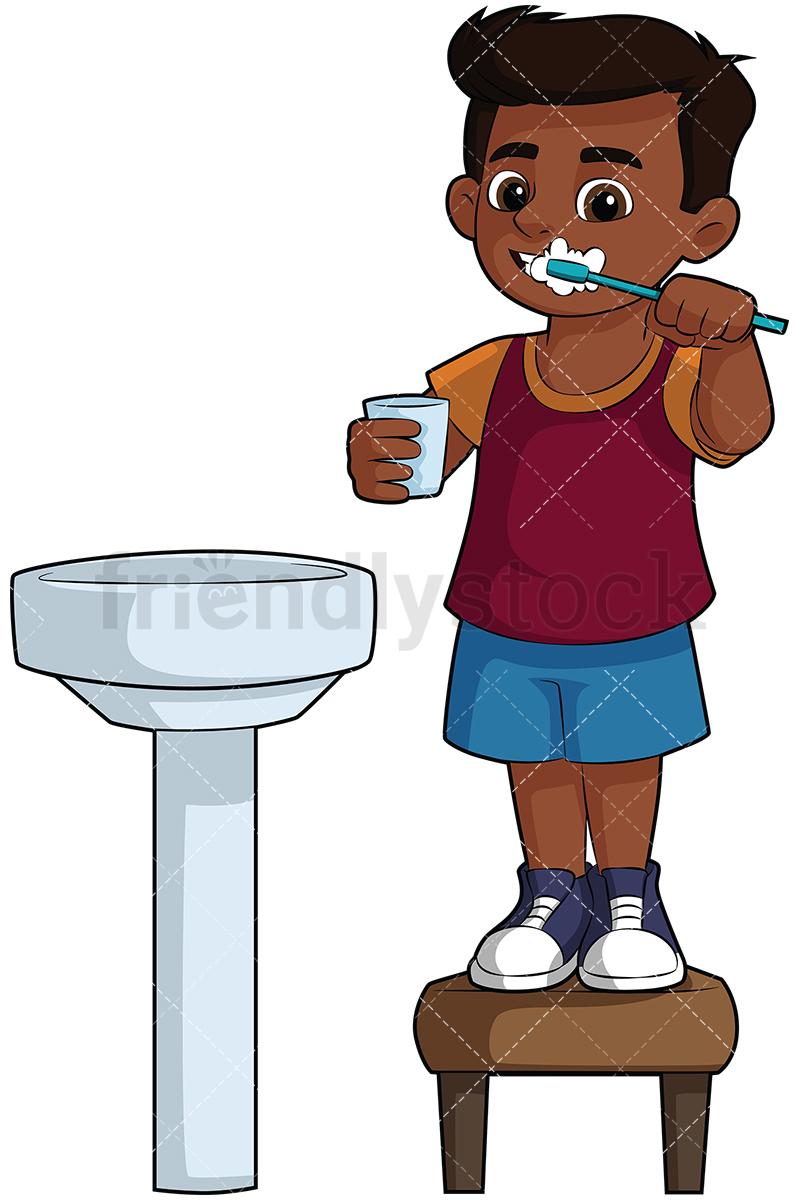 Black Boy Brushing His Teeth In The Sink.