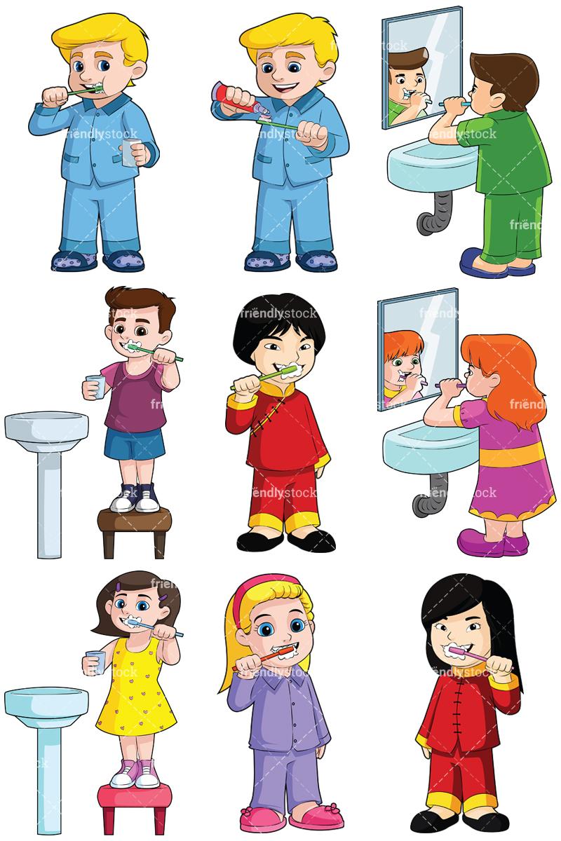 Kids Brushing Teeth Collection.