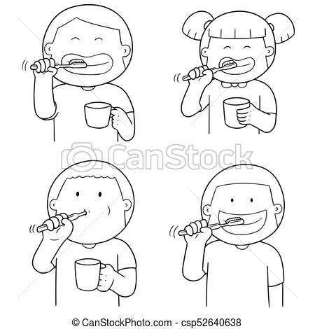 vector set of children brushing teeth.