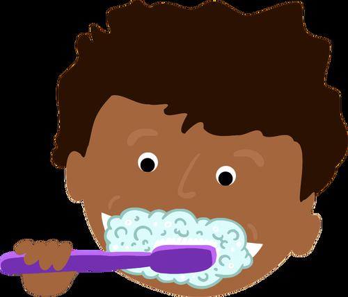 African kid brushing teeth.