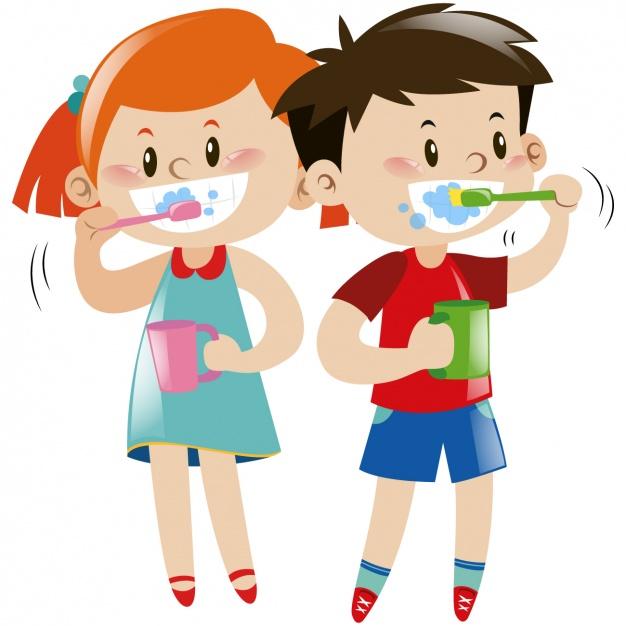 Kids brushing their teeth Vector.