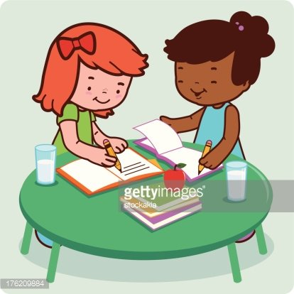 Students doing homework Clipart Image.