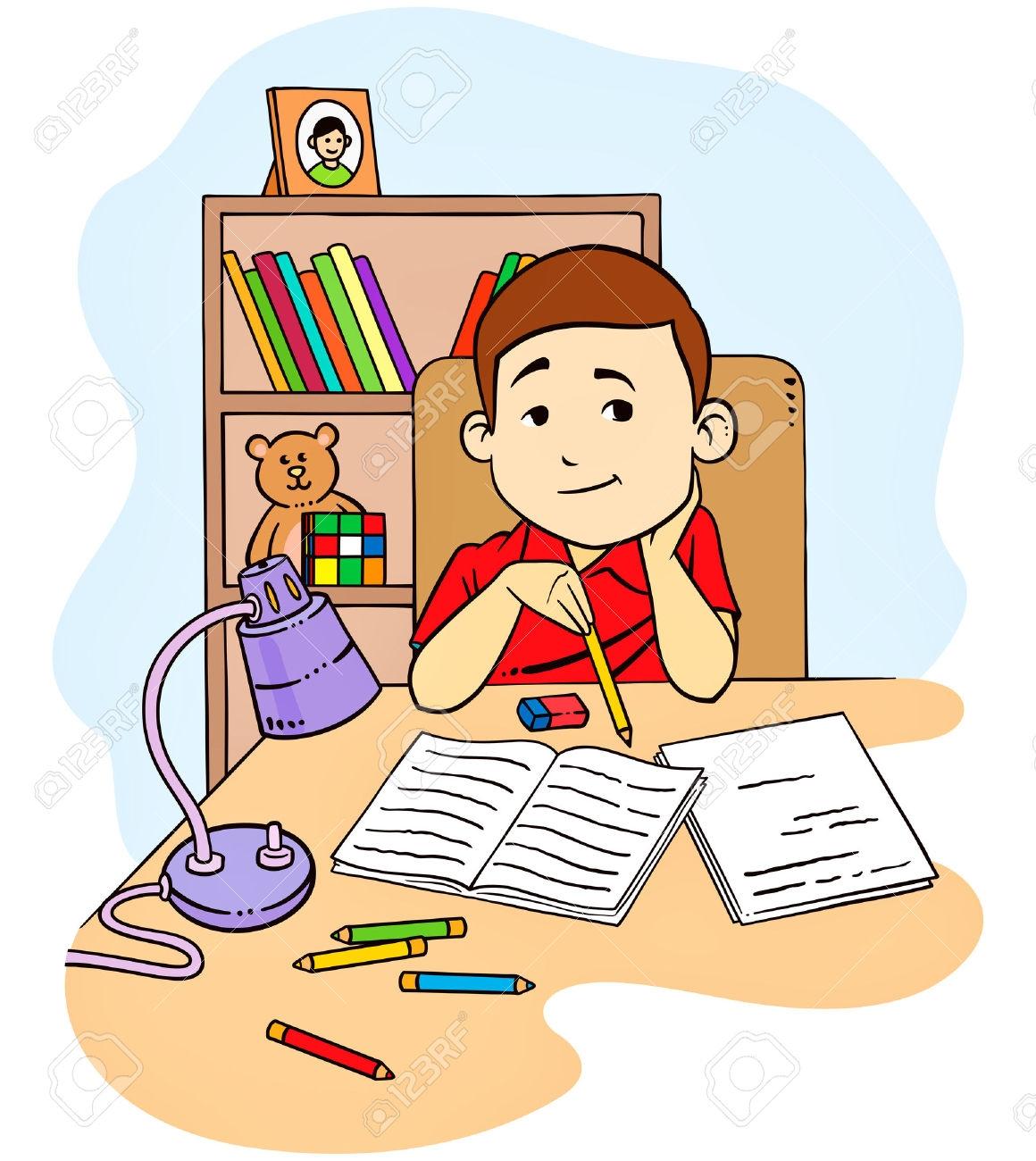 Clipart Kids Doing Homework.