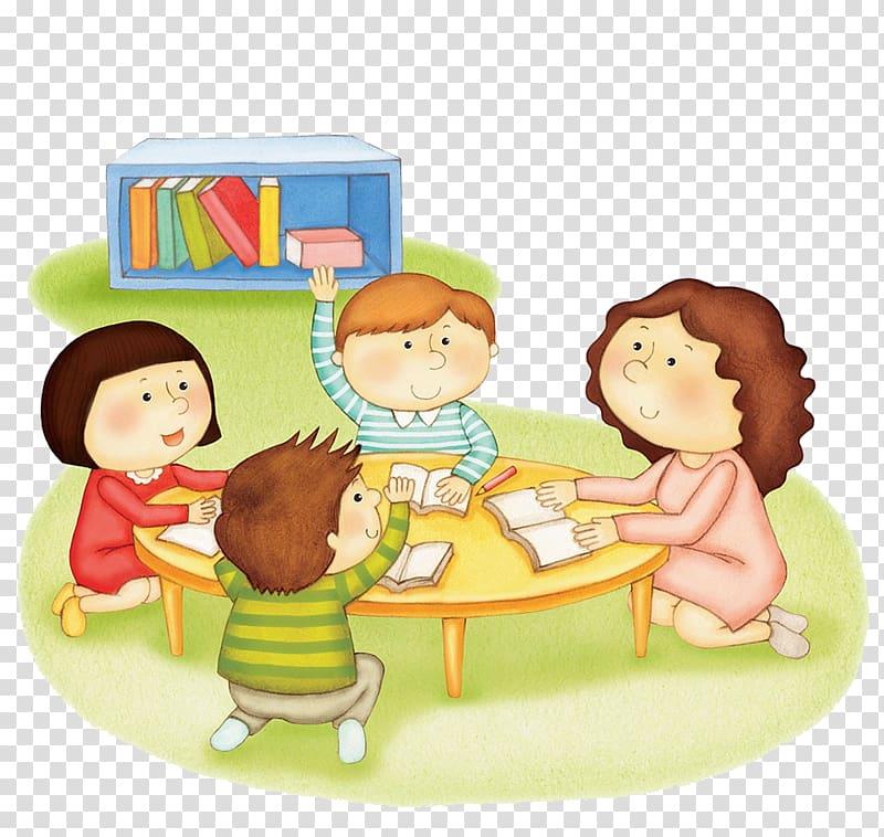 Four child beside table art, Emile, or On Education Homework.