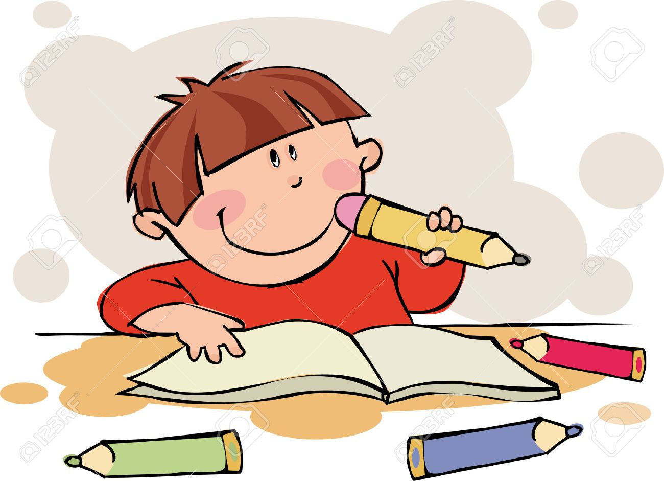 Image result for cartoon picture of child doing homework.