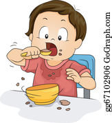 Child Eating Clip Art.