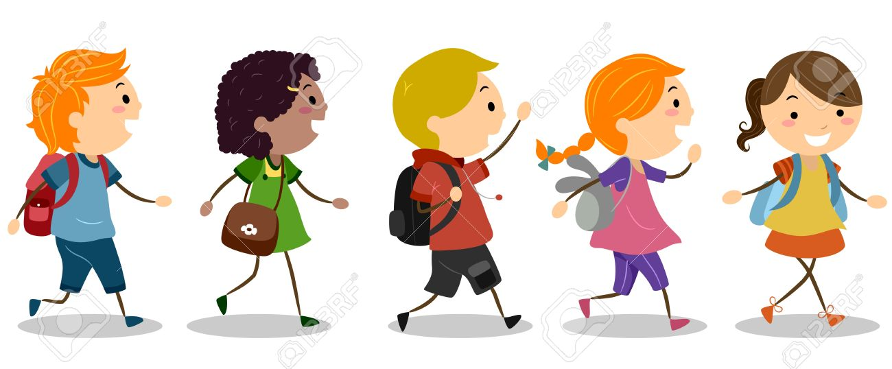 Illustration Of Kids Going To School Stock Photo, Picture And.