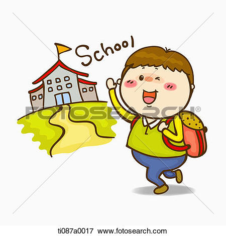 Stock Illustration of A boy going to school ti087a0017.
