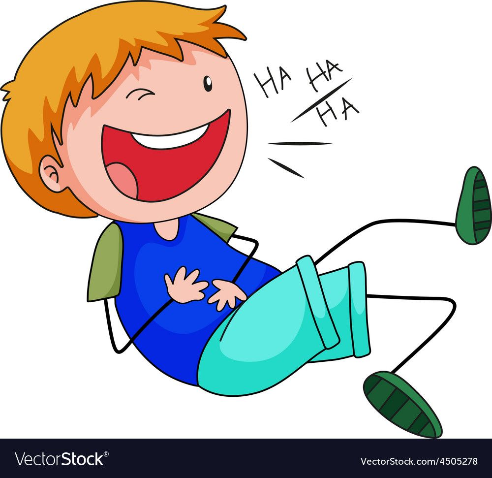 Boy laughing Royalty Free Vector Image.