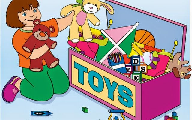 Child Cleaning Up Toys Clipart.