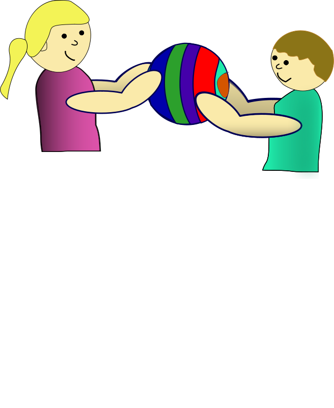 Free Clipart: Children sharing a ball.