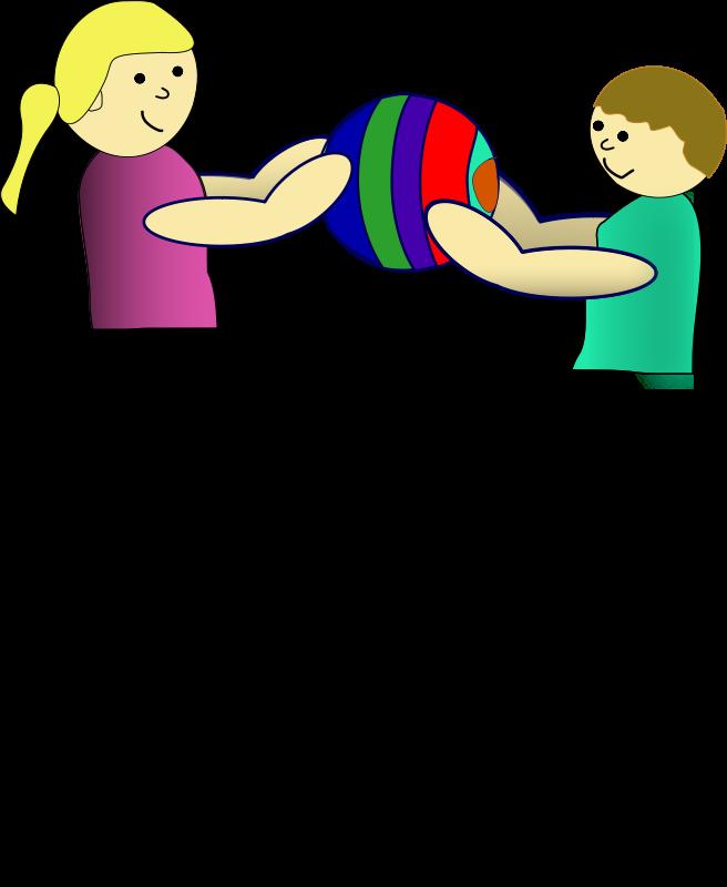 Free Clipart: Children sharing a ball.