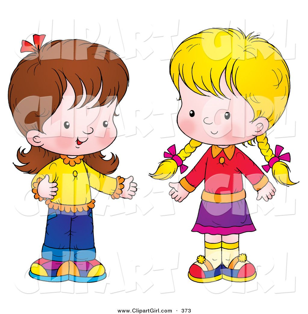 Clip Art of a Pair of Little Girls Standing Together and Talking.