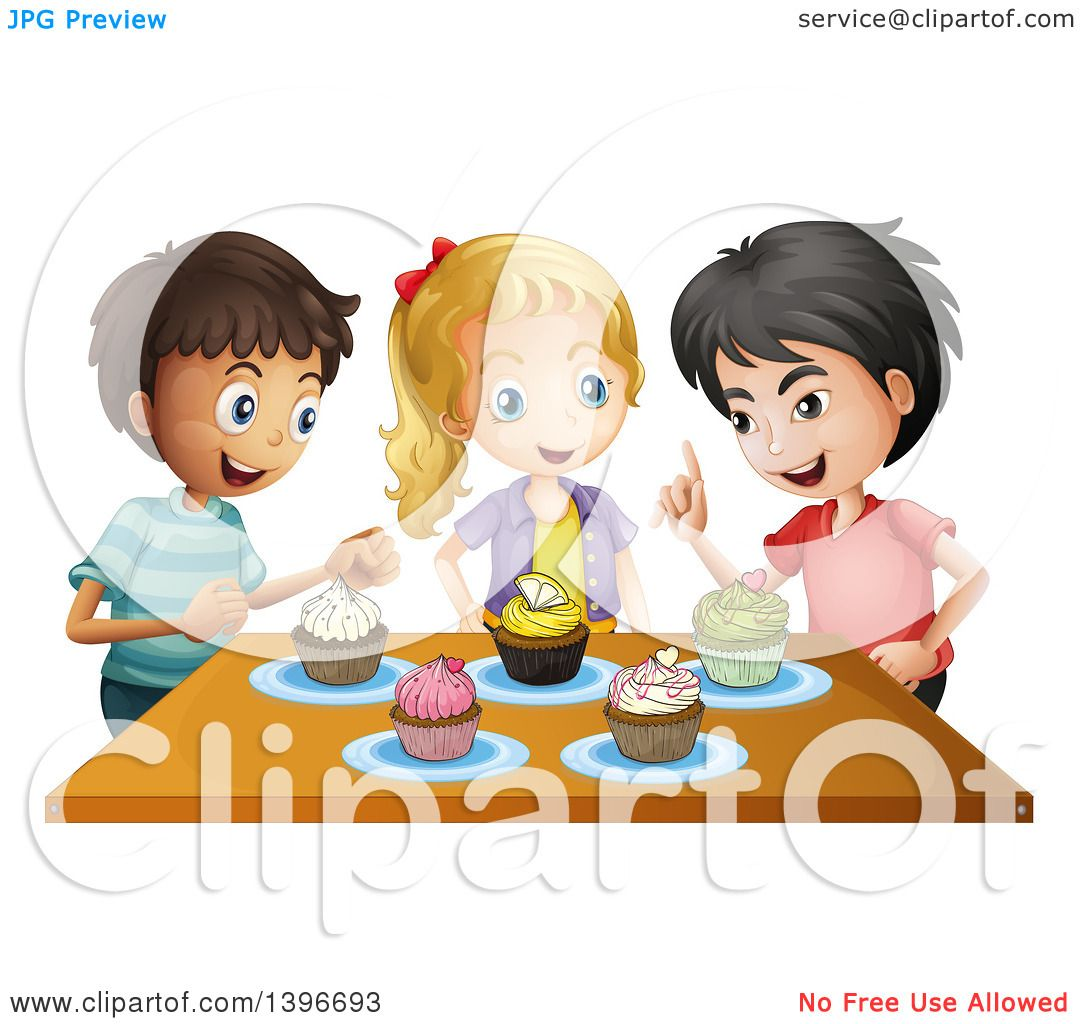 Clipart of Children Talking over Cupcakes.