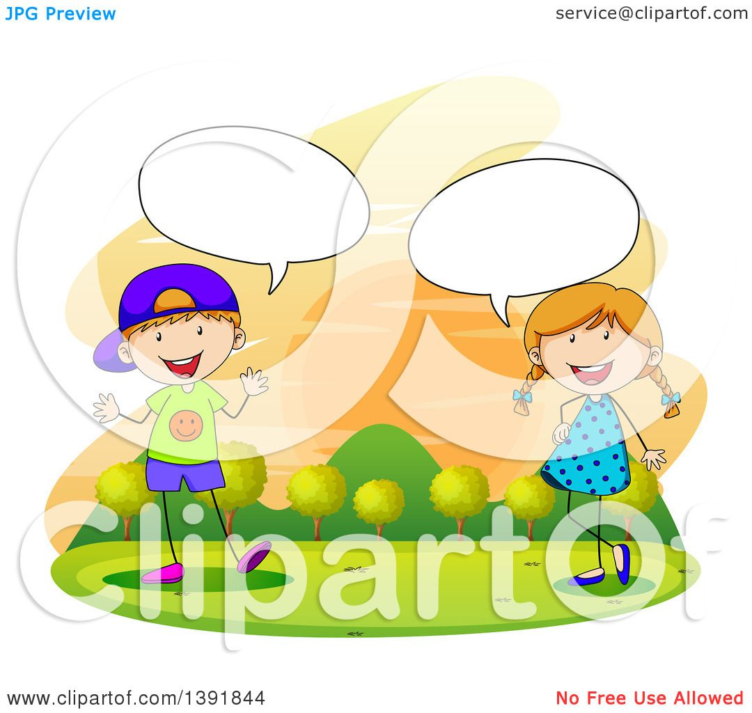 Clipart of Children Talking Against a Sunset.