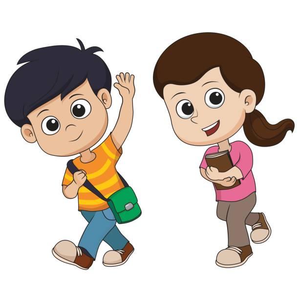 Children Walking Clipart.