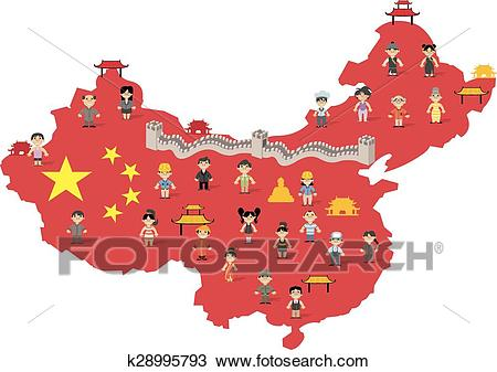 China map with Chinese people Clipart.